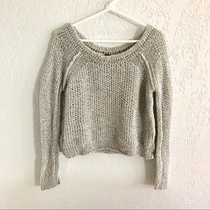 Free People Wide Neck Open Knit Cropped Sweater S